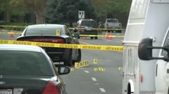 POLICE CSI CRIME SCENE WITH POLICE TAPE AND EVIDENCE MARKERS HIGH DEFINITION Stock Footage