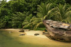 small beach at ream national park, cambodia - stock photo