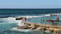 Bronte beach in Sydney, rock pool Stock Footage