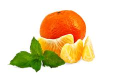 Mandarin with mint and slices Stock Photos