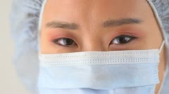 Closeup Chinese woman doctor - stock footage
