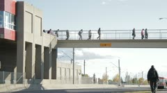 Pedestrian overpass with traffic Stock Footage