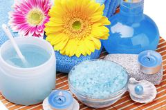 spa products and aromatherapy - stock photo