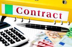 Contract word on folder Stock Photos