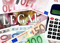 Legal word with money Stock Photos