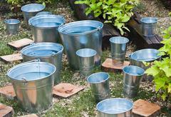 Zinc bucket of water Stock Photos