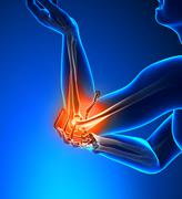 Elbow Pain Male - Side view - stock photo