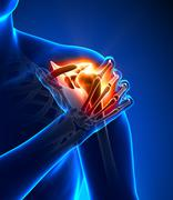 Shoulder pain - detail - stock photo