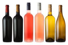 Stock Photo of Mixed Wine Bottles on white
