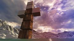 wooden cross in water - stock illustration