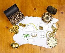 Pirate blank map with treasure, coins, medal, ring and map Stock Photos