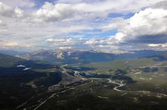 Jasper seen from Mount Whistlers - stock photo