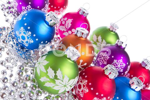 Stock photo of christmas balls with snowflake symbols