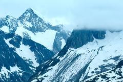 great aletsch glacier (bettmerhorn, switzerland) - stock photo