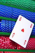 Poker chips with ace Stock Photos