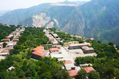 Stock Photo of mountain village view from altitude