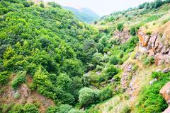 landscape view from altitude - stock photo