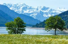 reschensee summer landscape (austria). - stock photo