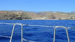 Sailing on yacht around La Gomera island in Spain. Stock Footage