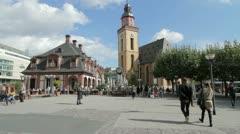 Frankfurt Landmarks at Pedestrian Zone Stock Footage