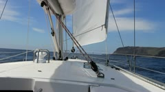 Sailing on luxury yacht in Atlantic ocean near La Gomera Island in Spain. Stock Footage