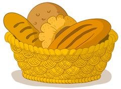 Bread in a basket Stock Illustration