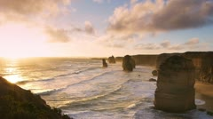 Sun setting at the twelve apostles Stock Footage