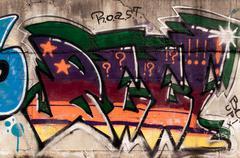 graffiti on public wall - stock photo
