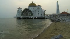 Selat Mosque in Malacca island Malaysia Stock Footage