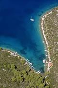 Bay on island hvar from air Stock Photos