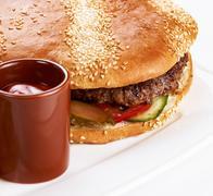 Stock Photo of burger close up