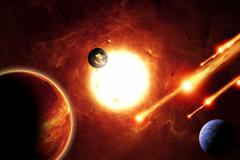 Alien solar system Stock Illustration