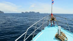 Ferry boat sail to phi phi island of phuket thailand Stock Footage