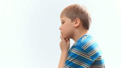 child boy teen schoolboy thinks, remembers - stock footage