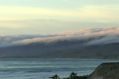 Rolling Fog Mountians Beach Coastline Surf Scenic Landscape Stock Footage