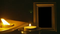 Stock Video Footage of Empty picture frame & candles