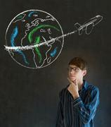 man with chalk  globe and jet world travel - stock photo