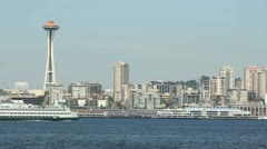 Ferry Crossing Elliott Bay, Seattle Stock Footage