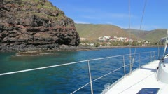 Sailing around San Sebastian de la Gomera Stock Footage