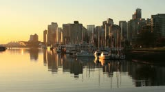 Sunrise Vancouver,  Coal Harbor Reflections Stock Footage