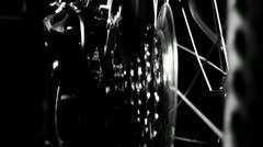 High contrast Bicycle gears and wheel spin - stock footage