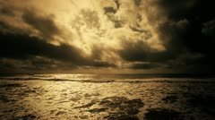 ronze Sea Background with Clouds - stock footage