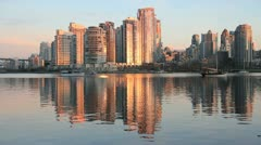 Yaletown, False Creek, Sunrise Reflection Stock Footage