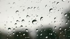 Extreme Close up of Rain on windshield Stock Footage