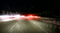 Abstract time lapse of driving at night on freeway - stock footage
