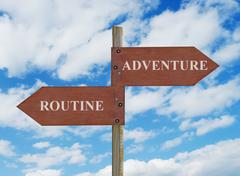 adventure vs routine - stock photo