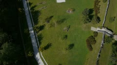 Aerial shot of children's playground, basketball and football court Stock Footage