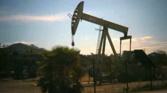 Oil drilling rig in California Stock Footage