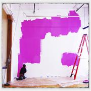 Boy painting wall pink Stock Photos