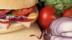 Freshly made sandwich Stock Footage